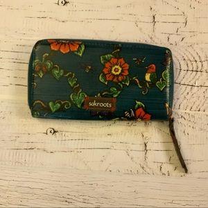 Sakroots true love dark teal blue wallet